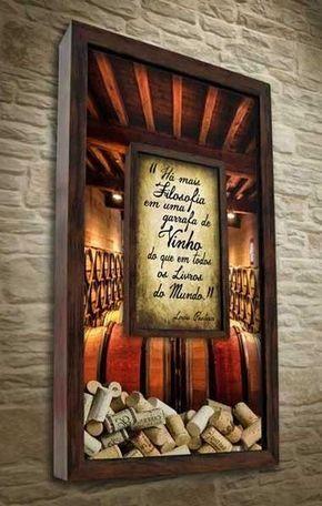Quadro Duplo Porta Rolhas - Há mais Filosofia em uma garrafa de vinho