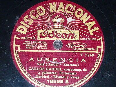 TANGO-78-rpm-RECORD-Disco-Nacional-CARLOS-GARDEL-Tango-AUSENCIA-EL-QUE