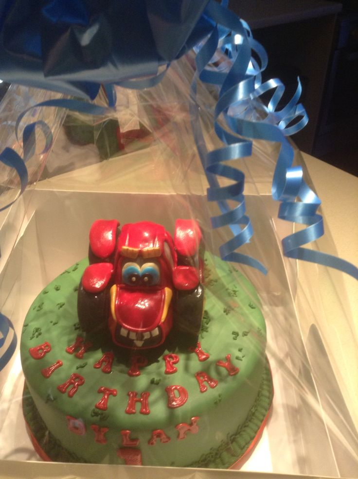 Chocolate 1st birthday cake with fondant tractor