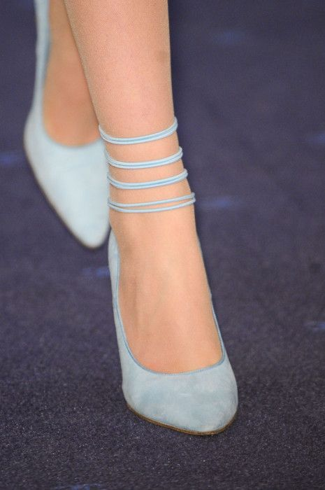 Simple and delicate pale blue shoes by Chanel. #Gorgeous #Wedding #Shoes