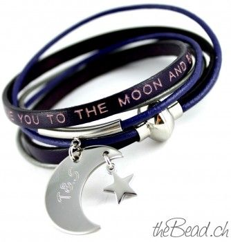 "leather bracelet "" love you to the moon and back """