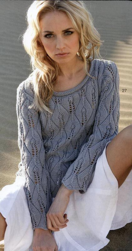 Lace pullover with pattern