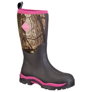 The Original Muck Boot Company Woody PK Hunting Boots for Ladies - Bark/Realtree APG/Hot Pink - 10 M