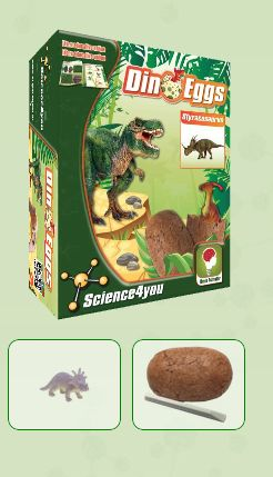 DINO EGGS - STYRACOSAURUS  Descobre: - O habitat dos dinossauros - O que é a paleontologia - Que tipos de fossilização existem - As causas de extinção dos dinossauros - Características e curiosidades destes fantásticos seres pré-históricos