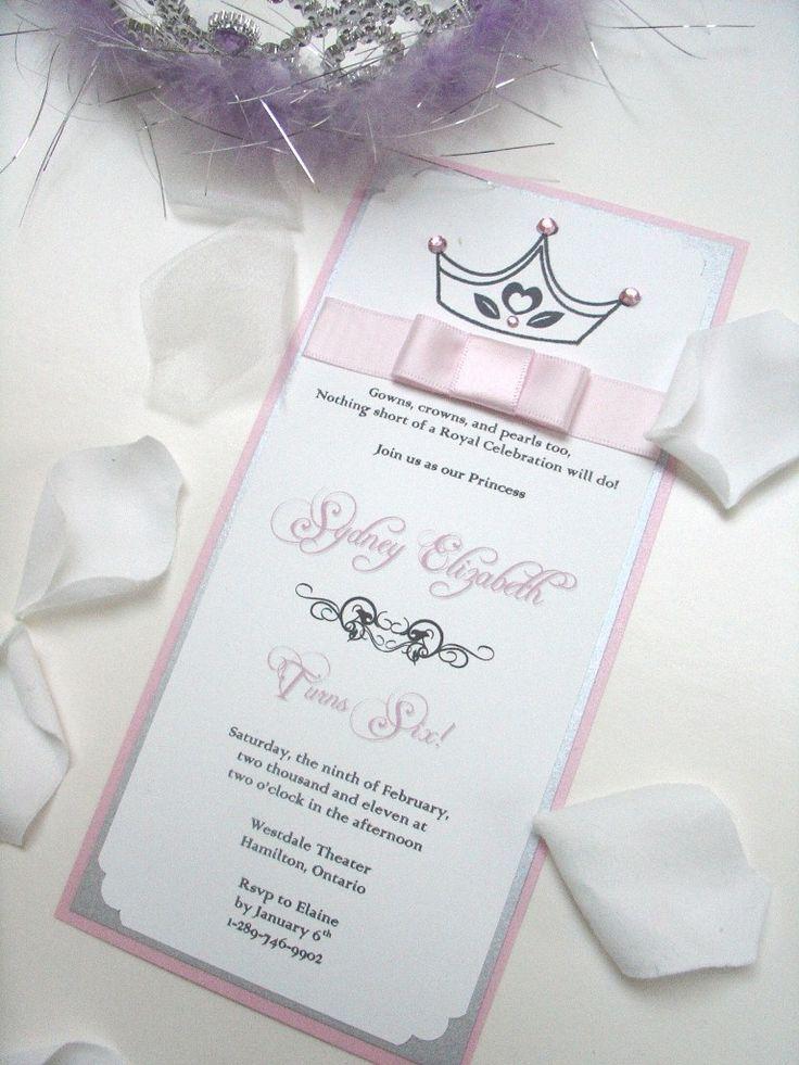 Princess Invitation with Crown and Ribbon