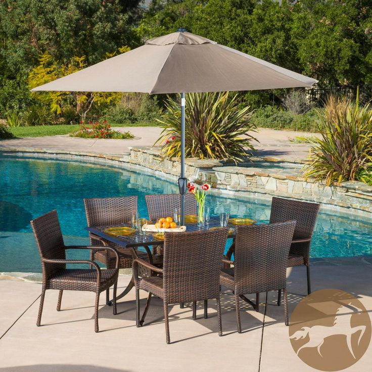 Christopher Knight Home Littleton Rectangular Outdoor Cast and Wicker 7-piece Set   Overstock.com Shopping - Big Discounts on Christopher Kn...