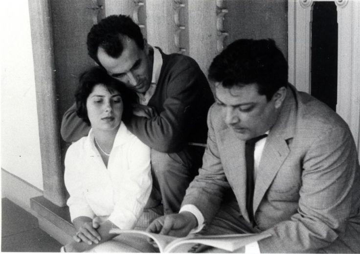 Bruno Maderna, Luigi Nono and Nuria Schönberg in the 50's