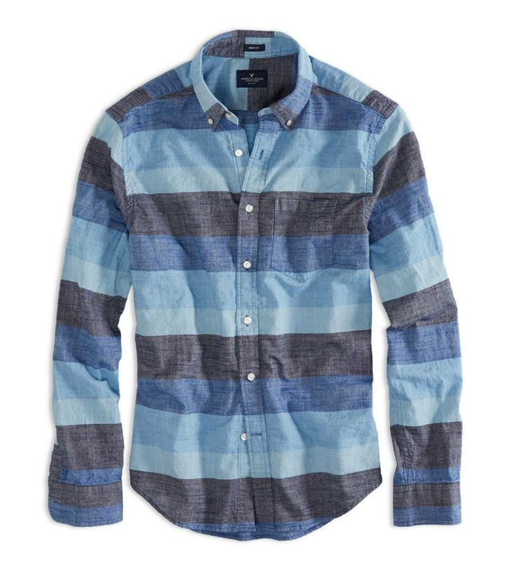 Striped Chambray Button Down Shirt from American Eagle Outfitters