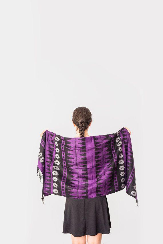Aztec Scarf Women Scarf Man Scarf Winter Scarf Purple by Urbe