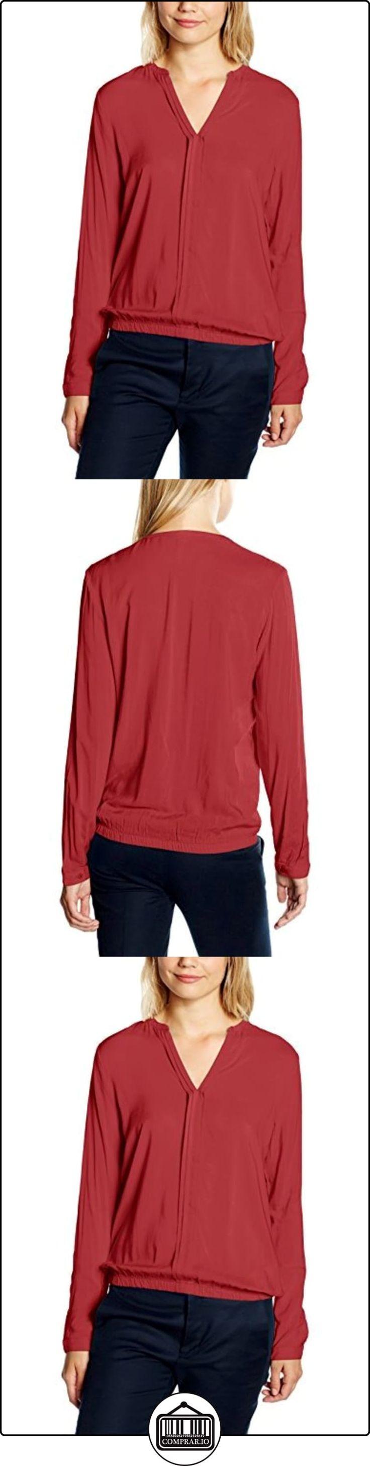 s.Oliver Denim Mit Smokbündchen, Blusa para Mujer, Rot (Brick Red 2837), 38  ✿ Blusas y camisas ✿