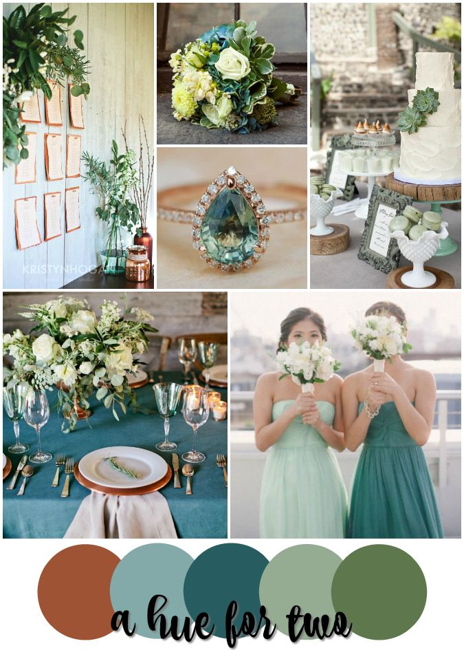 Teal Sage Green Copper Rustic Wedding Color Scheme