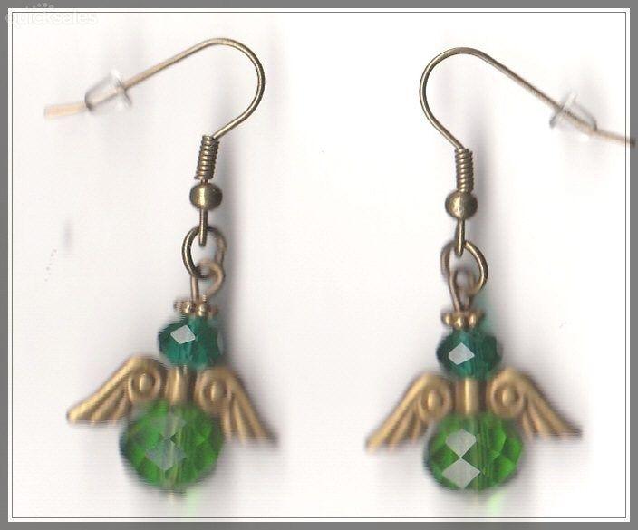 Angel Czech Crystal Green Glass Bronze Earrings  by MadAboutIncense - $9.50