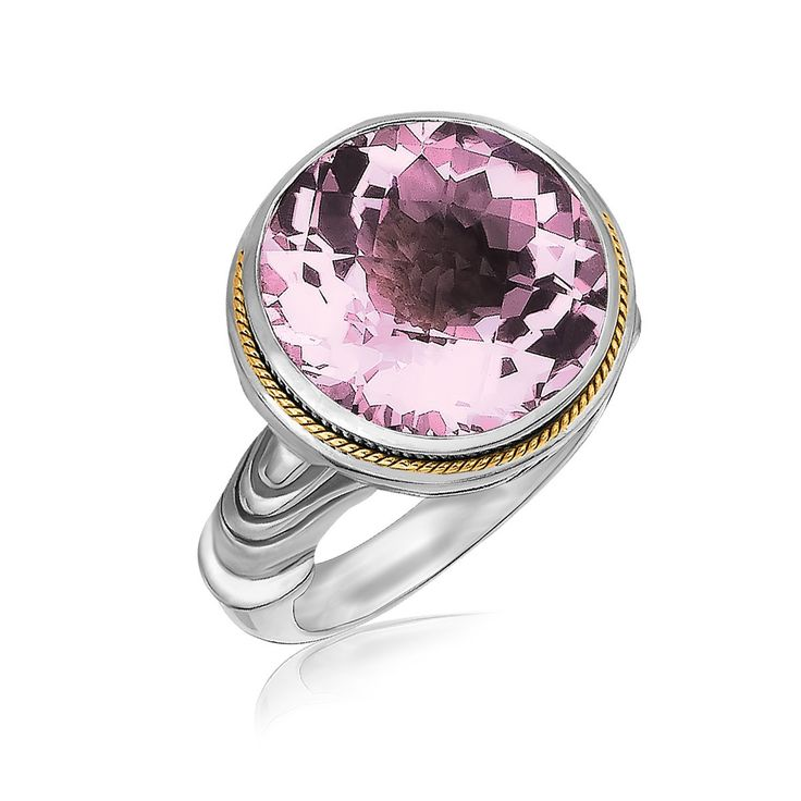 18K Yellow Gold and Sterling Silver Round Pink Amethyst Ring