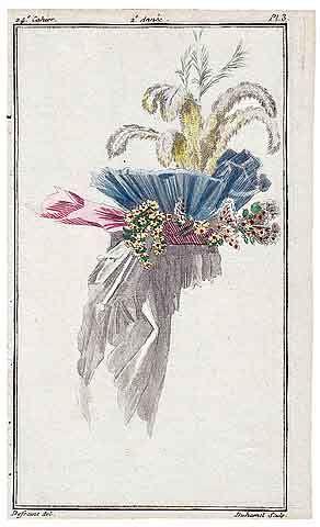 Magasin des Modes Nouvelles 1787 cahier n°24, plate n°3, Defraine, Bonnet