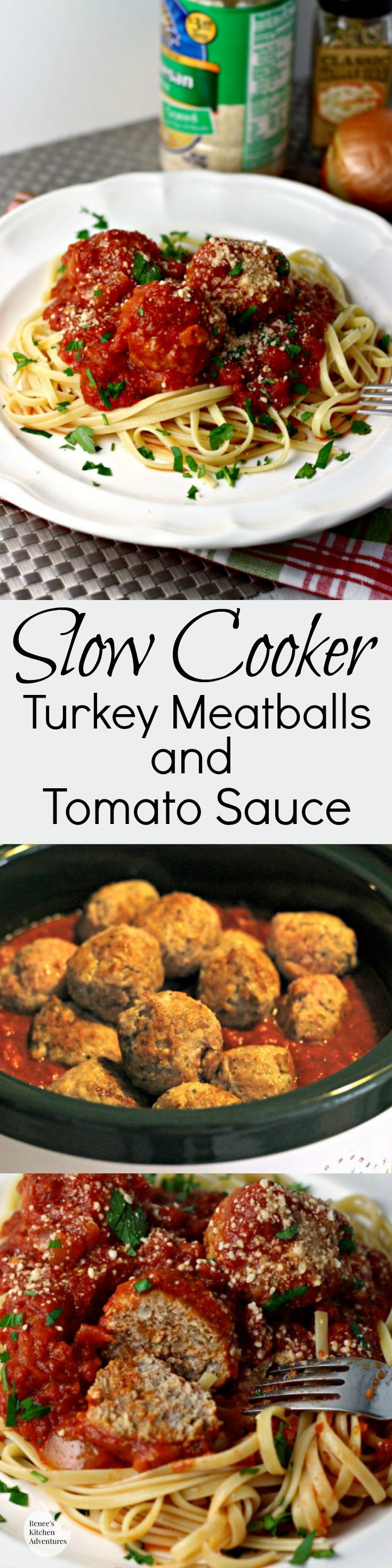 Slow Cooker Turkey Meatballs and Tomato Sauce | Renee's Kitchen Adventures - Classic meatballs and sauce simmer all day for an Italian feast.  Healthy, easy, recipe.