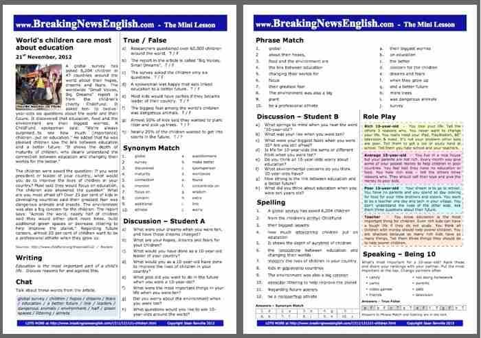 Free, Ready-to-Print EFL/ESL Lesson Plans on Current Events - All-Skills 26-page English News Lessons, 2-Page Mini-Lessons, Listenings, 30+ Online Activities and more. Lessons are at pre-intermediate and Intermediate (+) levels and are uploaded every two days.