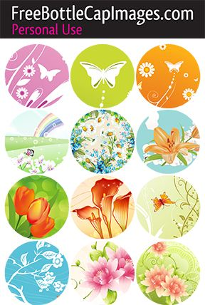 Free bottle cap images download Butterflies and flowers. Spring, pastel, green, pink, orange, blue