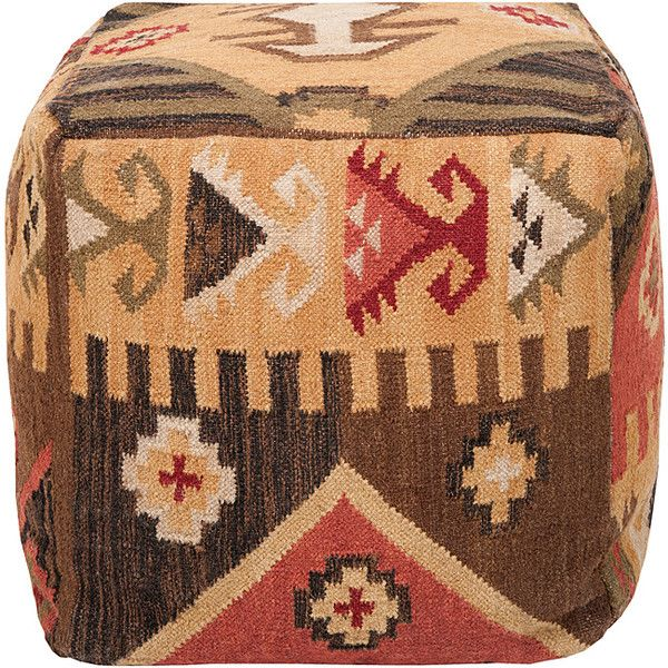 Decorative Southwestern Yellow Pouf (185 CAD) ❤ liked on Polyvore featuring home, furniture, ottomans, brown, southwest furniture, yellow ottoman, yellow furniture, computer furniture and brown ottoman