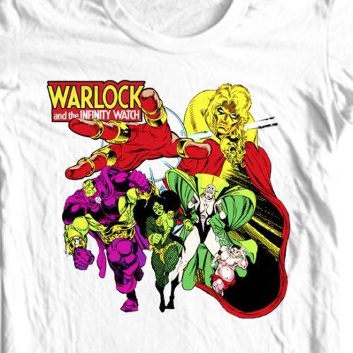 Warlock-Infinity-Watch-T-shirt-retro-100-cotton-tee-Bronze-Age-old-comic-books