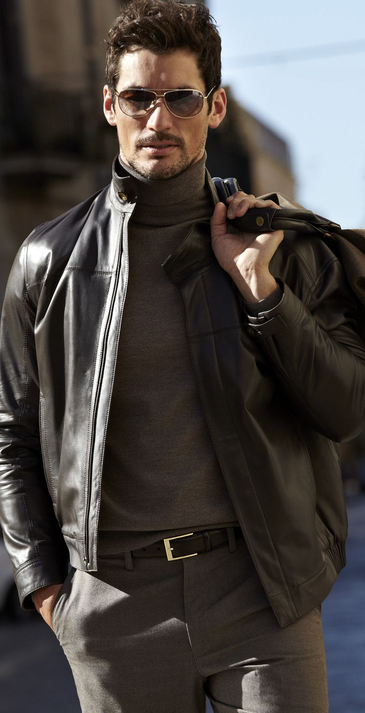David Gandy | Brown Shades | Men's Casual Outfit | Fall/Winter | Leather Jacket, Turtle Neck Sweater, Dress Pant | Shop Menswear at designerclothingfans.com
