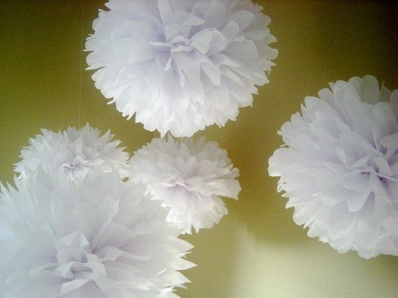 Bright White ... 20 tissue paper poms // green wedding // anniversary // diy // engagement // party decorations