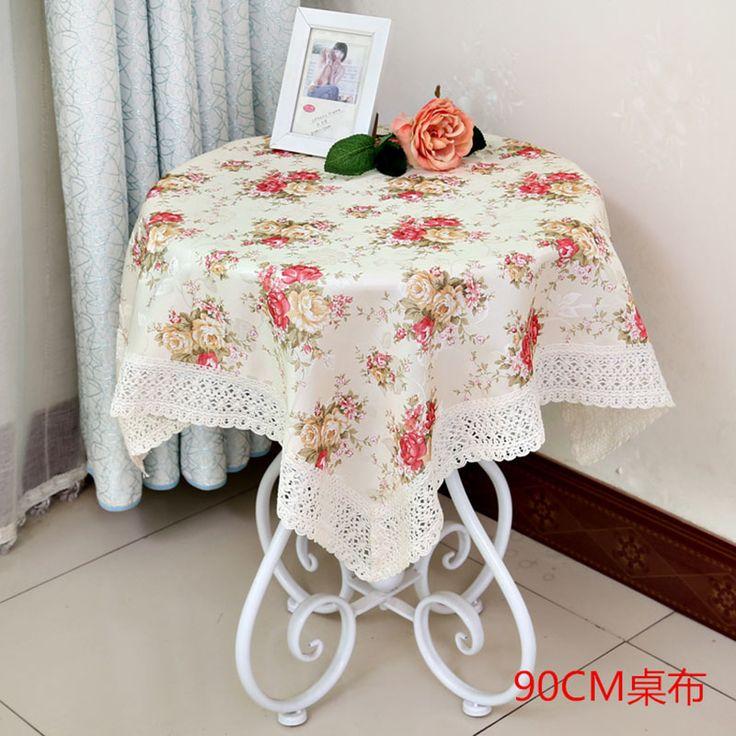 4 Colors 90*90 cm Round Table Cloth Pastoral Floral Table Deacorative Cloth Wholesale Tablecloths for Weddings #Affiliate