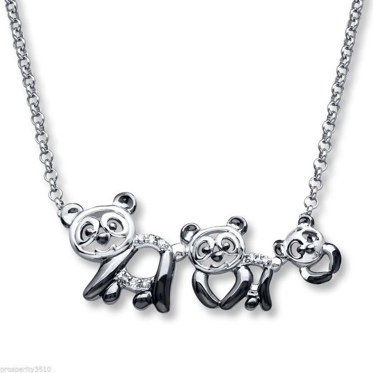 .925 Panda Bear Sterling Silver Panda Family Diamond Necklace Pendant #KayJewelers #Pendant