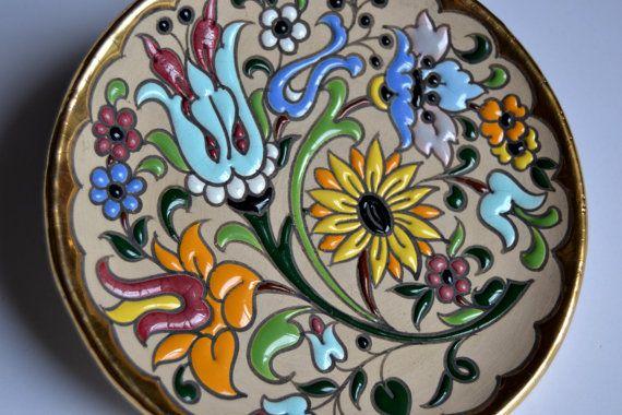 Decoración de la pared Vintage cerámica pintada a mano por Limbhad