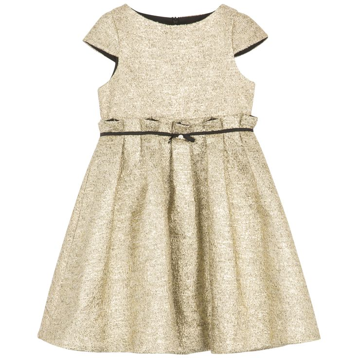Gold coloured flounced dress#outfit #FW15 #fall #winter #kidsfashion #ceremony #gold #dress