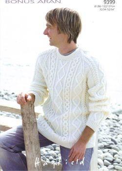 Mens Diamond Cable Sweater in Hayfield Bonus Aran