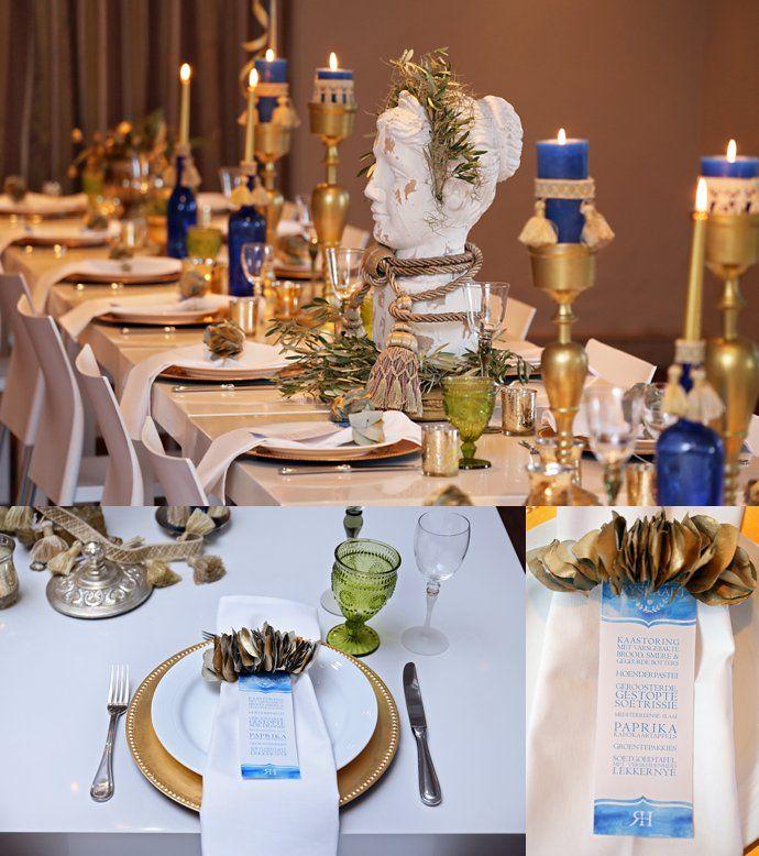 Greek inspired rehearsal dinner – Celeste Styled Events. Stationery by Madre Kohn Creative.
