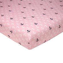Sadie $16.99 pink nautical crib sheet