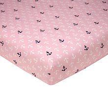 Sadie $16.99 pink nautical crib sheet