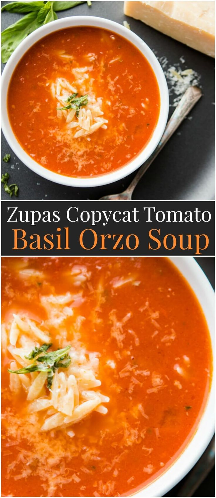 Everyone loves Zupas and on a whim one evening I decided to make a Zupas Copycat Tomato Basil Orzo Soup and the results were fantastic! ohsweetbasil.com