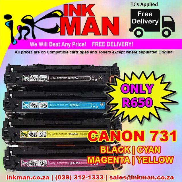 #Canon 731 black-cyan-magenta-yellow Toner #BestPrice R650 #INKman #SouthAfrica #Print ORDER http://bit.ly/1QHqZKo