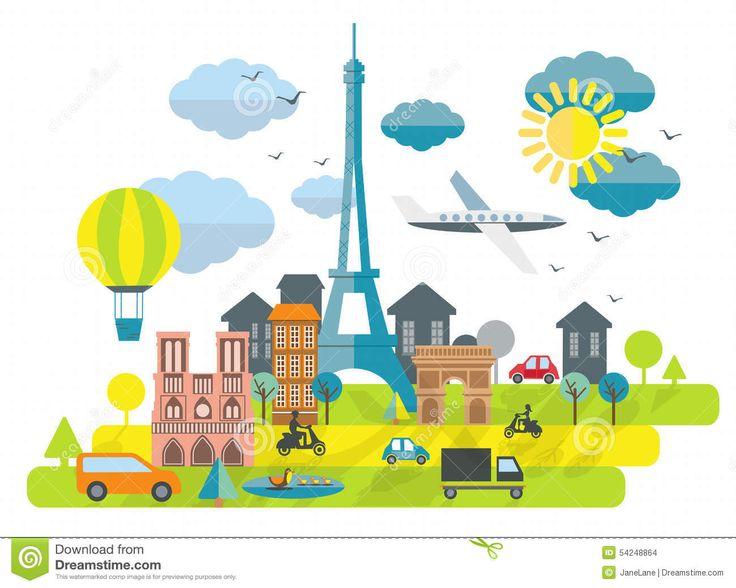 Plan Designillustration Med Eiffeltorn I Den Paris Staden Vektor Illustrationer - Bild: 54248864