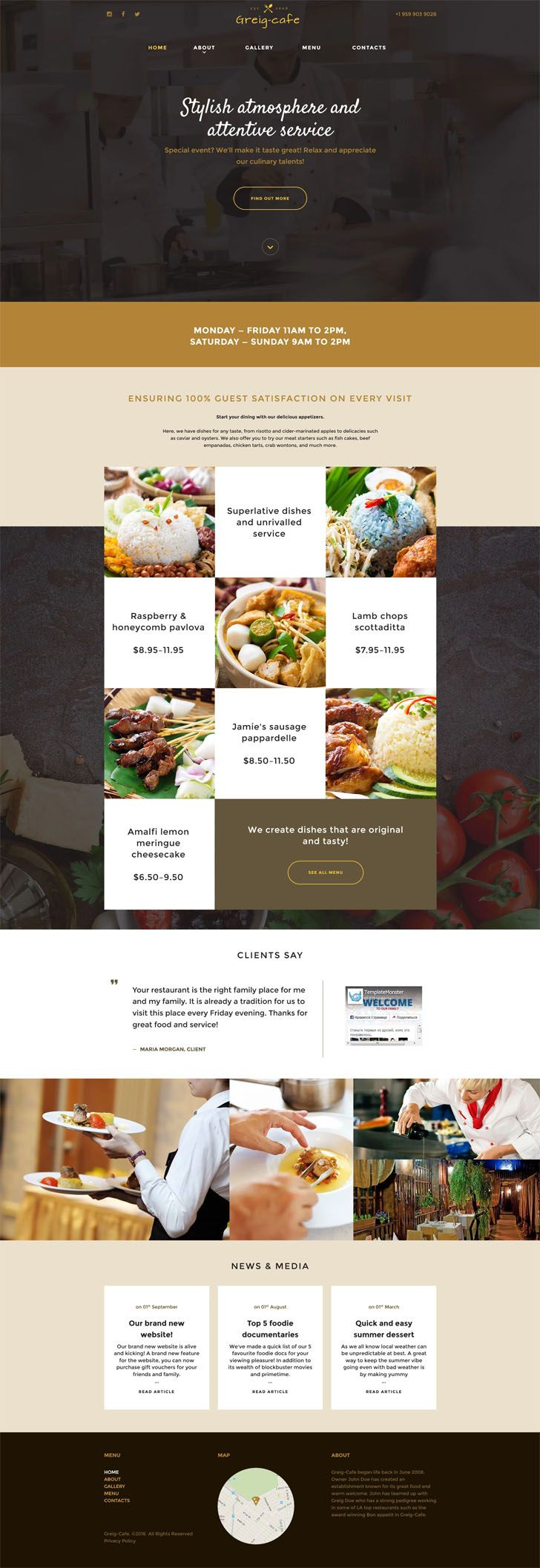 This #responsive #cafeteria #website #template boasts a visually rich design to promote your dishes with a mouth-watering effect. Its full-screen header both introduces your eatery and gives an access to social icons, menu items, and CTA buttons in the ghost style. Its parallax background is dimmed out to bring these elements to the forefront. In the main block, dishes are shown in squares, as on a chessboard. Sleek hover effects allow visitors to focus on each of them. Boxes used to outline…