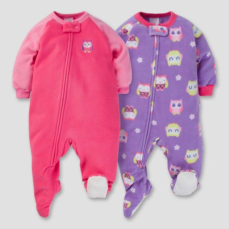 Gerber Baby Girl 2pk Sleepy Owl Microfleece Zip-Front Footed Blanket Sleepers - Pink