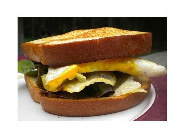 Fried egg and potato chips? A surprisingly good sandwich combo.  http://greatideas.people.com/2014/03/13/10-sandwiches-that-are-better-with-potato-chips-stuffed-inside/