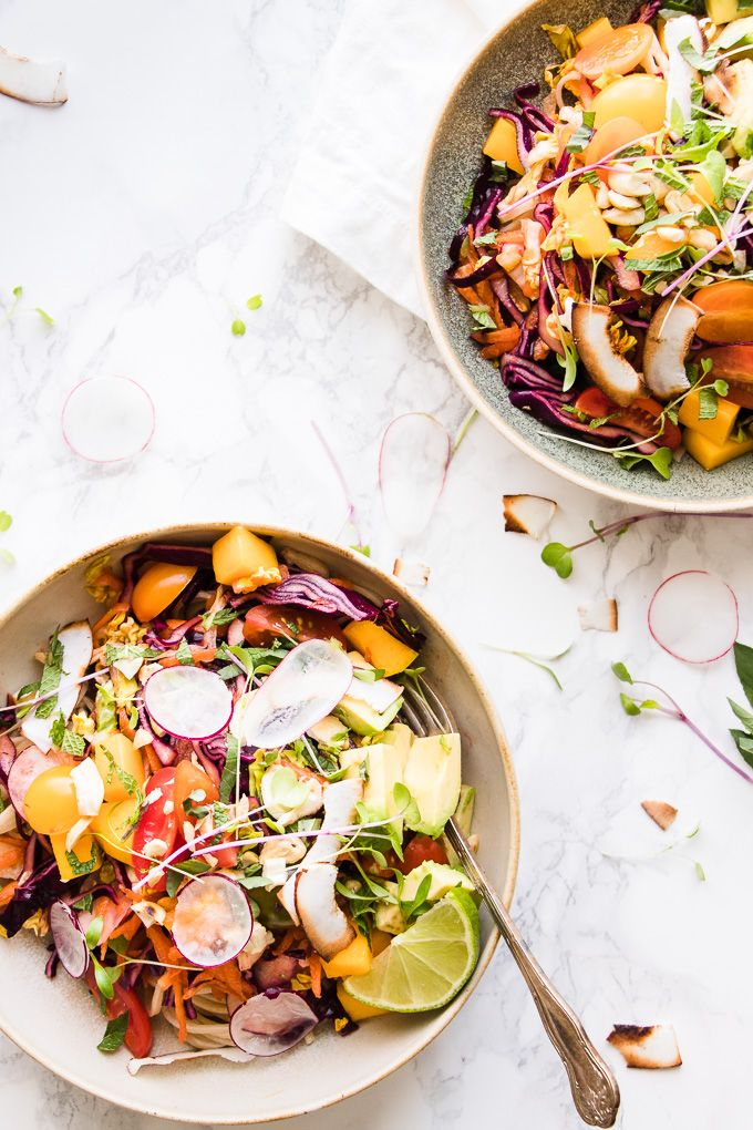 Coconut mango noodle salad loaded with crunchy veggies and creamy avocado on a bed of silky Asian noodles with a spicy lime honey dressing.