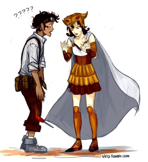 Leo Valdez and the human version of the Argo II colored (I know I've like pinned this before, but I absolutely adore it, so...)