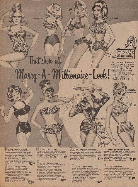 "1964 Frederick's of Hollywood catalog    I love that ""Marry-A-Millionaire-Look""!"
