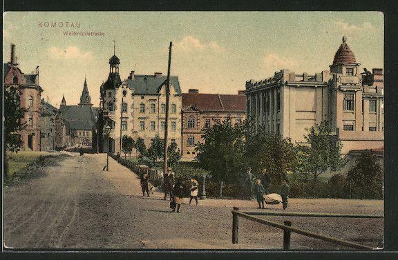 old postcard: AK Komotau / Chomutov, Weitmühlstrasse mit Kindern