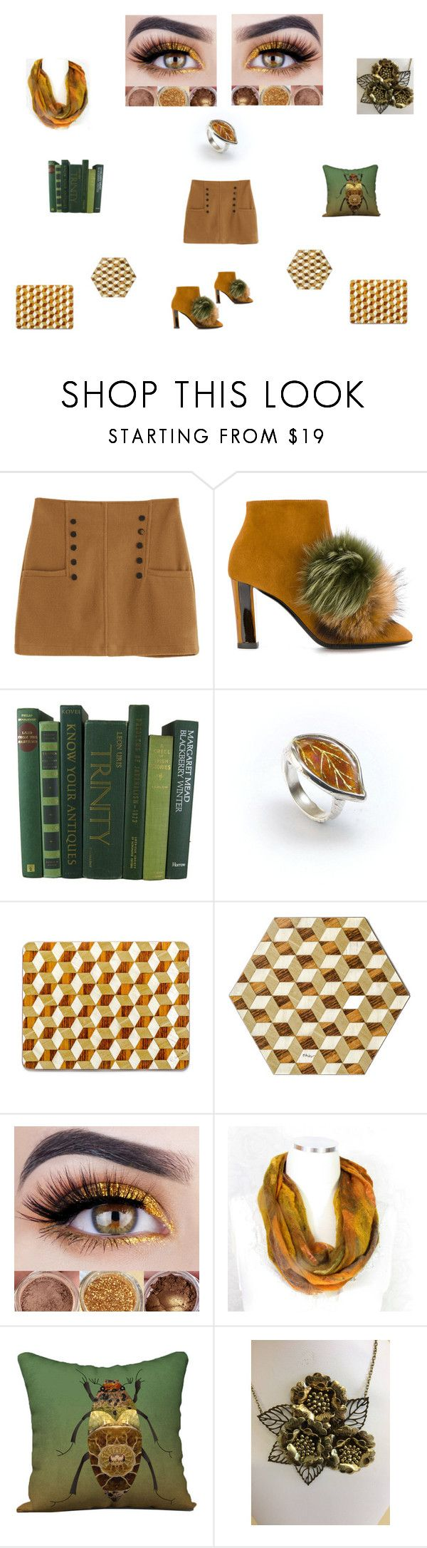 Mustard gold brown green by einder on Polyvore featuring Pollini walnut ivory place mats E Inder Designs