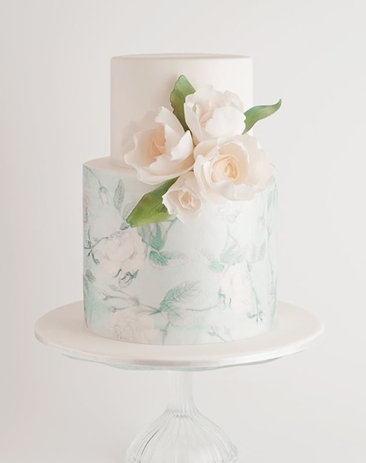 This light-hued watercolor cake is perfect for a winter wedding.