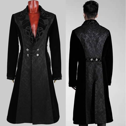 Designer Black Velvet Victorian Gothic Fashion Trench Coat Clothing Men SKU-11401421
