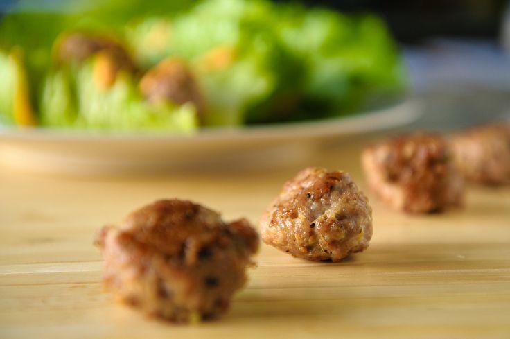 Vietnamese Chicken Meatball Lettuce Wraps with Paleo Sriarcha Aioli