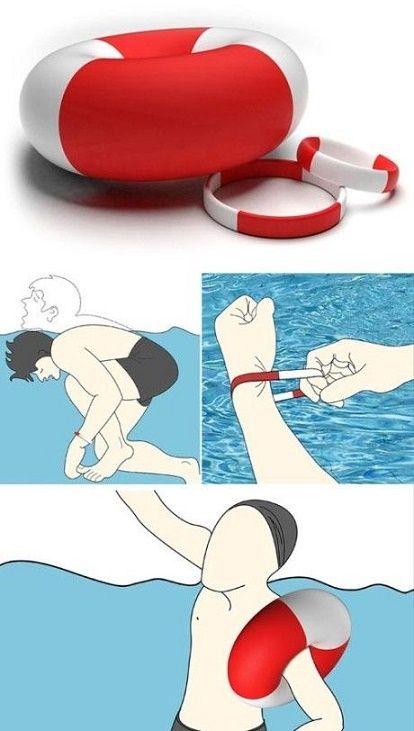 Esta pulsera que se convierte en salvavidas con tan solo jalarla bajo el agua.