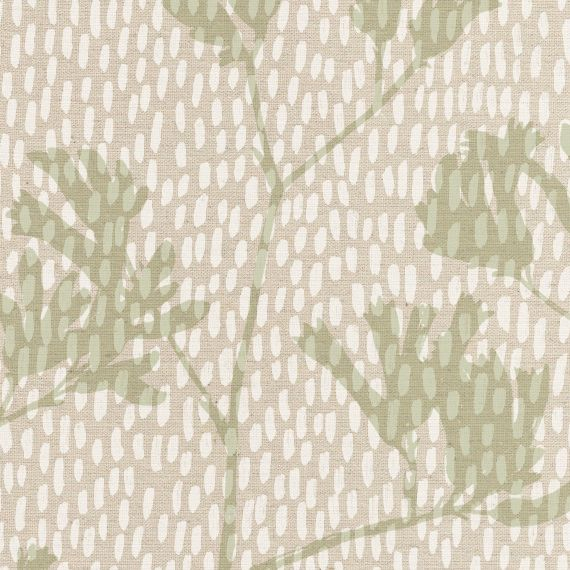Dashes in Transparent White with kangaroo paws in Moss on unbleached cotton hemp