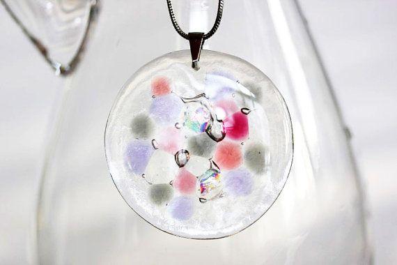 Kaleidoscope pendant, fused glass pendant, musical colors, unique transparent glass jewelry